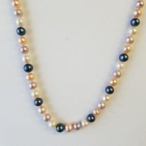 "Jewelry - 7mm Genuine Freshwater Cultured 16"" 14kt Wg Clasp"